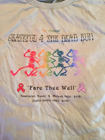 """Grateful 4 the Dead run"" t-shirt designed and made by Alex Smith"